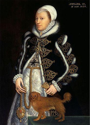 Catherine Carey. Lady Knollys. (Dama de honor de Isabel I), hija de William Carey y de Maria Bolena. Por tanto  Catherine Carey era prima hermana de Isabel I