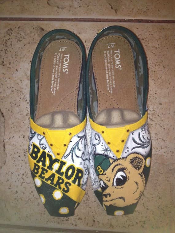 Baylor University hand painted TOMS by solespirit on Etsy, $110.00-- WANT!!