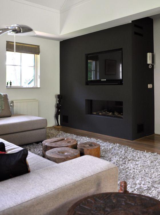 Gashaard met tv wand in vakantiewoning Bennekom na STIJLIDEE Interieuradvies en Styling via www.stijlidee.nl