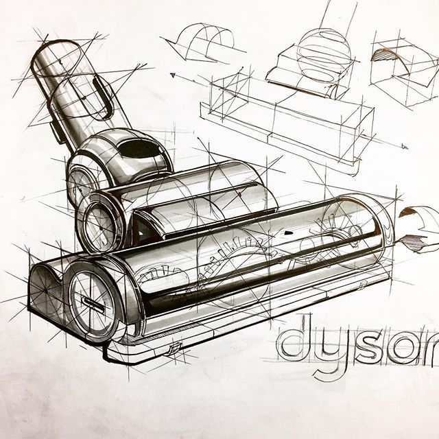 Sketches product Design ,  techniques draw/ night Sketchs.. Object ; dyson vacuum cleaner' #sketch #product