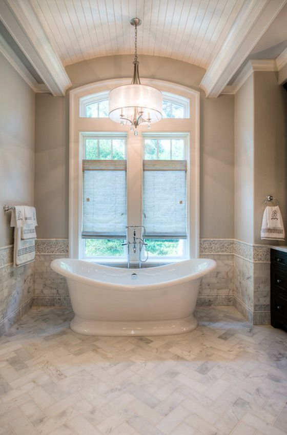 Half Tiled Bathroom Ideas Part - 35: Love The Tile Border Half Way Up The Walls. Great Tub Also!
