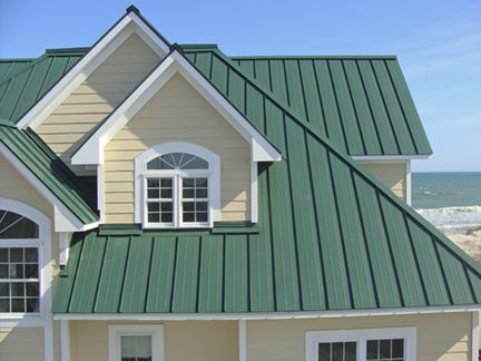 green metal roof house - Google Search
