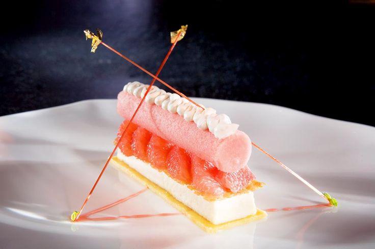 rosa Grapefruit mit Ricotta-Panna-Cotta und Sorbet - Rezept von Martin Steiner, Sternekoch im Stromberger von Johann Lafer