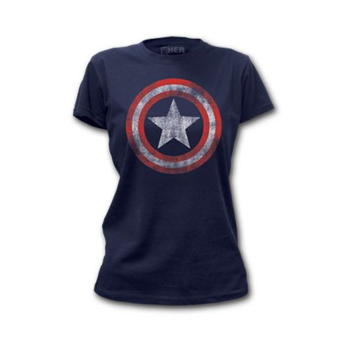 Captain America Distressed Shield Womens T-Shirt - Visit to grab an amazing super hero shirt now on sale!