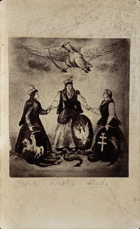 Alegoria Litwy, Polski i Rusi - rysunek (rycina?) nieznanego autora