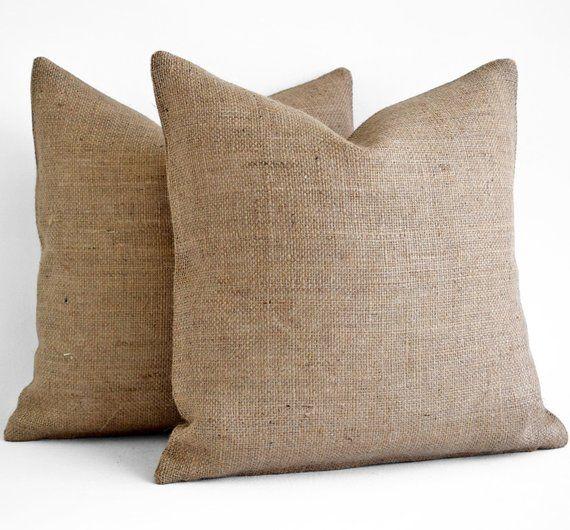 burlap throw pillows fully lined burlap