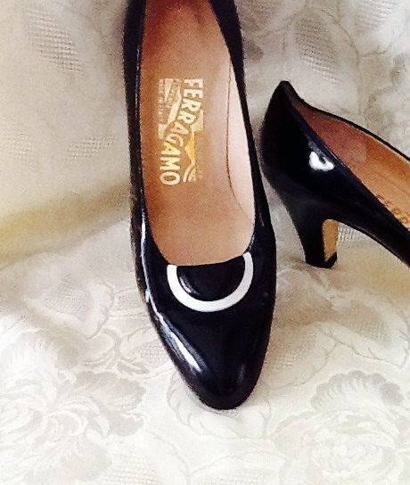 Vintage Ferragamo Black Patent Leather Heels by RESTYLE576 on Etsy, $57.00