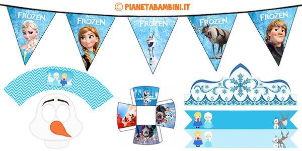 Tante Decorazioni e addobbi da stampare gratis per feste di compleanno a tema Frozen per bambini che amano i personaggi di Elsa, Anna, Olaf, Sven e Kristoff