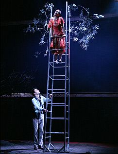 Romeo and Juliet (2006) - The balcony scene - Rupert Evans as Romeo and Morven Christie as Juliet © RSC