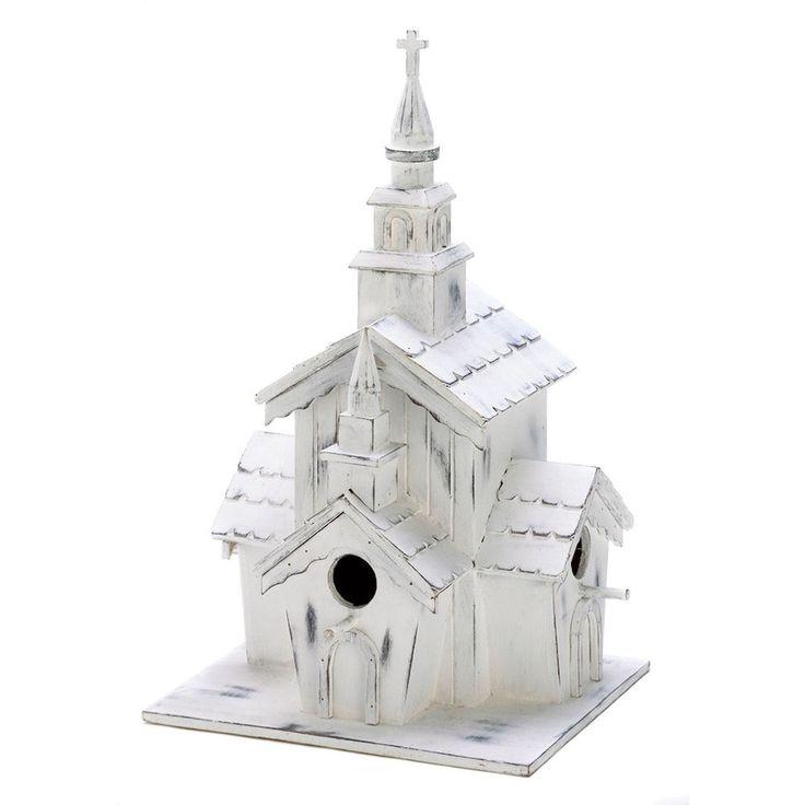 New Little White Chapel Birdhouse Whitewashed Wood Wedding Table Centerpiece