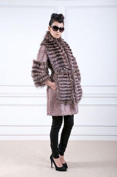 Guy Laroche Fox Fur and Cashmere Coat