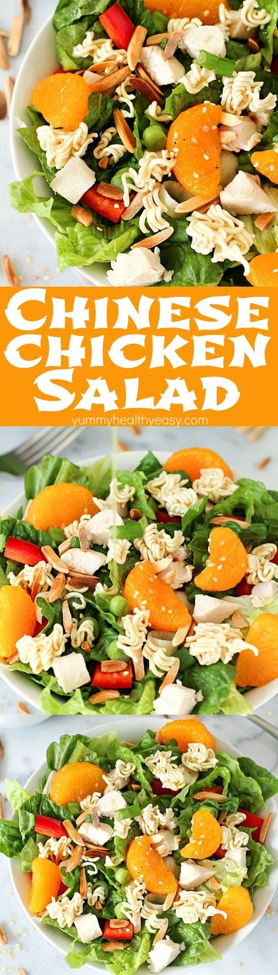 This Best EVER Chinese Chicken Salad is a healthy flavorful easy lunch or dinner salad recipe. It's easy to make but tastes like it's straight from a restaurant - this will become a favorite salad recipe at your house!
