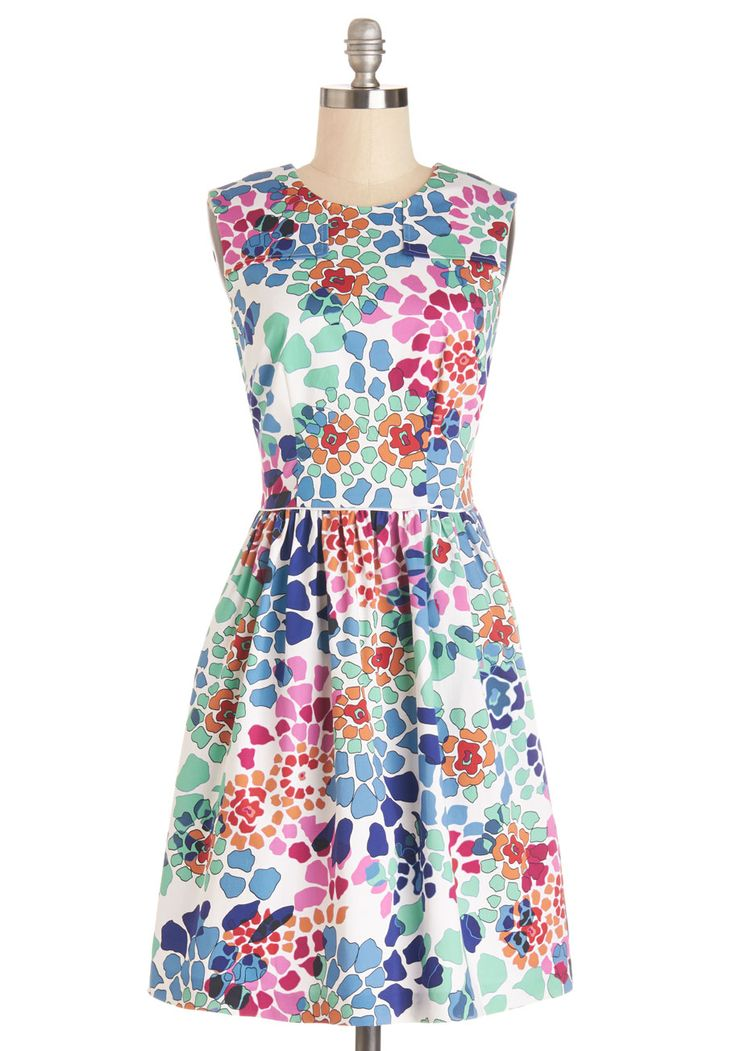 Watercolor Me Happy Dress. Youre gleefully chic in this colorful fit-and-flare dress!  #modcloth
