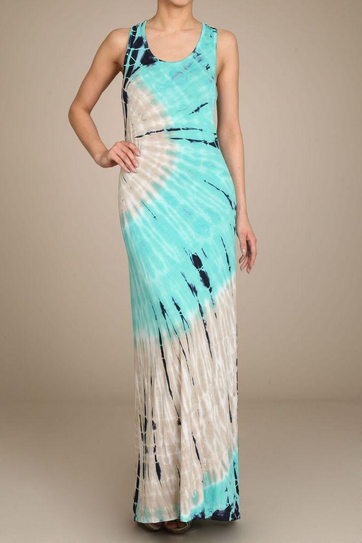 PRE-ORDER Womens Aqua & Gray Sprial HAND DYED Tie Dye Long Maxi Dress