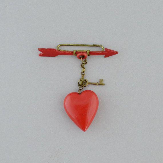 1930s Celluloid Red Heart Arrow Brooch Key 40s by LaMeowVintage,