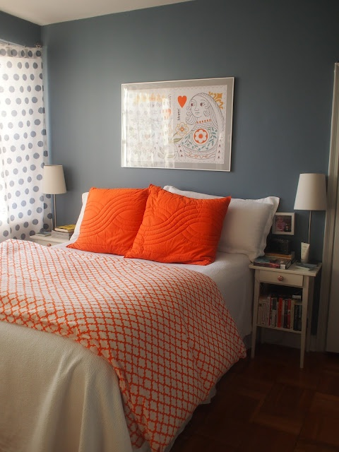 75th And Sedgwick Blue And Orange Bedroom