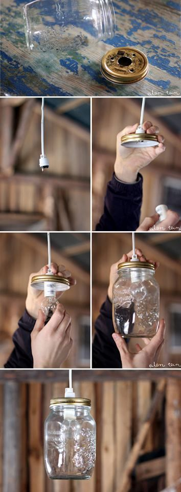 DIY: Great and simple way to recycle, decorate and illuminate your home decor, perhaps outside on your balcony or patio! :)