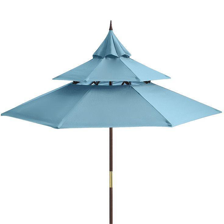 Pagoda 9' Turquoise Wood Umbrella