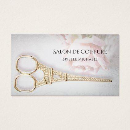 #Elegant Parisian Salon Rose Floral Hair Stylist Business Card - #beautician #gifts