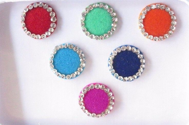 30 Colored Round Style Colored Bindis Studded With Rhinestones/Indian Bindis #Bindi