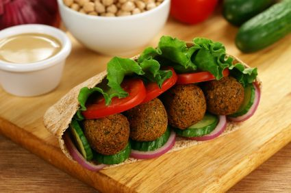Baked falafel ( i would use GF flour)