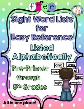 This set of Sight Words (High Frequency Words) covers words for Pre-Primer, Primer, First Grade, Second Grade, Third Grade, Fourth Grade, and Fifth Grade. Each grade level has a one-page sight word list with the 4th grade having a short list and a long list.  Print these Sight Word lists out for easy reference. They have been listed in alphabetical order to make it easy to find a word and instantly know what level it is.