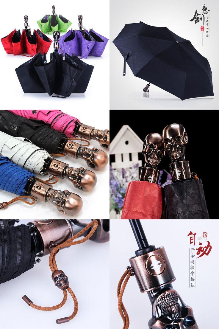 [Visit to Buy] Umbrella three-Folding Umbrellas automatic creative Umbrella men rain Women UV Sun Skull Handle Men Umbrellas Parasol Paraguas #Advertisement
