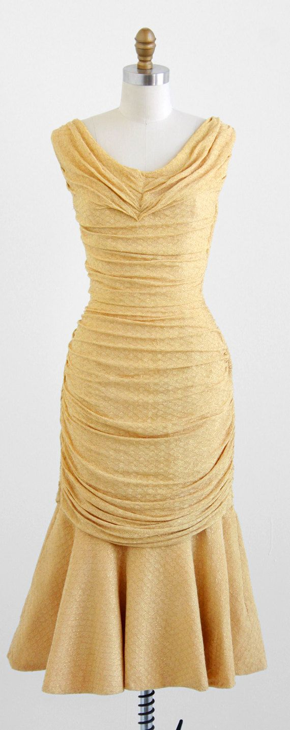 vintage 1950s Marilyn Monroe gold fishtail cocktail dress | http://www.rococovintage.com