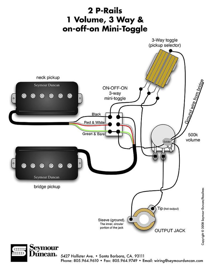 Seymour Duncan P Rails wiring diagram 2 P Rails 1 Vol