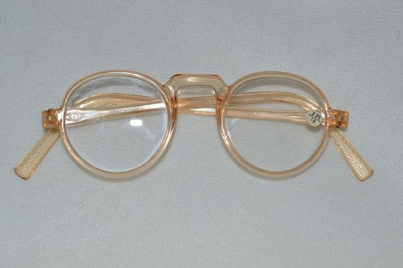 1940s vintage flesh clear plastic round rim frame glass lens eyeglasses reading spectacles prescription glasses new plastic eyeglasses and lenses