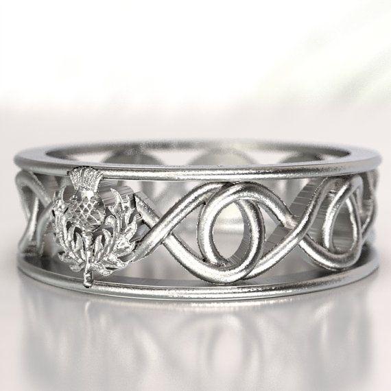 Celtic Scottish Thistle Ring Infinity