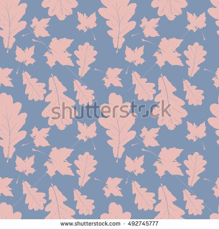 Floral pastel seamless pattern with maple and oak pink leaves on blue. Autumn background with grunge foliage, petals for wrapping paper. Vector illustration.