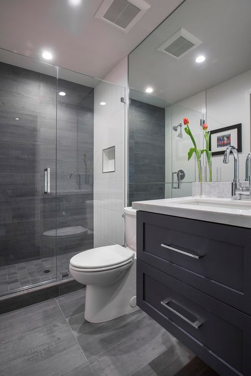 Contemporary 3/4 Bathroom with DreamLine UnidoorLux 60-in to 60-in Frameless Hinged Shower Door, Flat panel cabinets, Flush