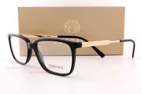 Nuevo-Versace-Gafas-Armazones-3209-GB1-Negro-Hombre-100-Autentico-Talla-55