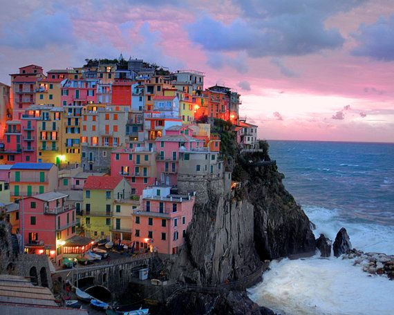 Sunset in coastal village Manarola, Italy: Cinqueterre, Cinque Terre Italy, Buckets Lists, Favorite Places, Color House, Beautifulplaces, Beautiful Places, Places I D, Travel
