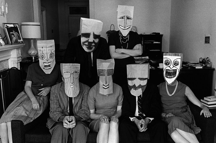 "magictransistor: "" Inge Morath. Saul Steinberg Masks & Girl in Bath. 1960s. "" God, I love Steinberg so much. Filed under: Saul Steinberg"