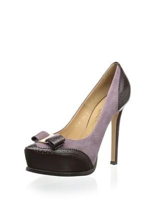 45% OFF Salvatore Ferragamo Women's Tisha C Platform Pump with Bow (Mauve-Brown)