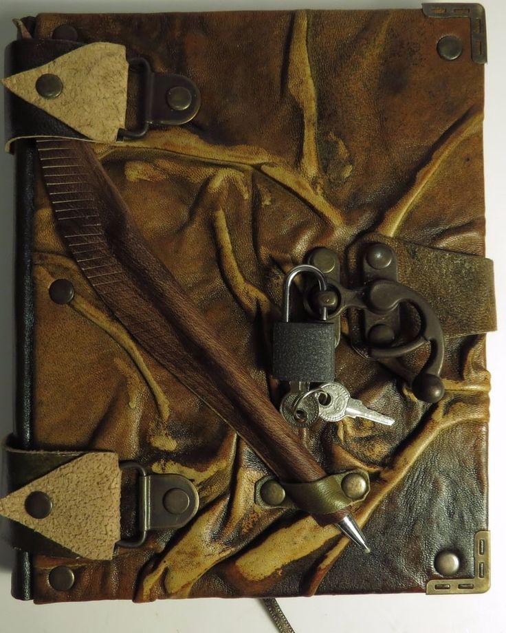 Tagebuch Leder Lederbuch Antikleder Echtleder notiz mit schloss unikat diary