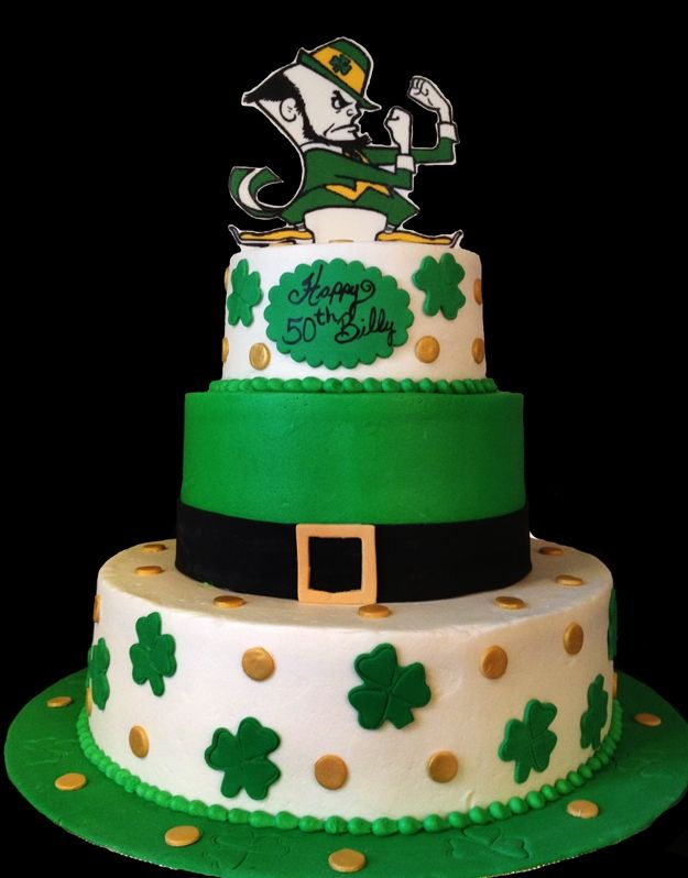 irish - iced in buttercream with fondant accents. The fighting irish man is an edible image on chocolate