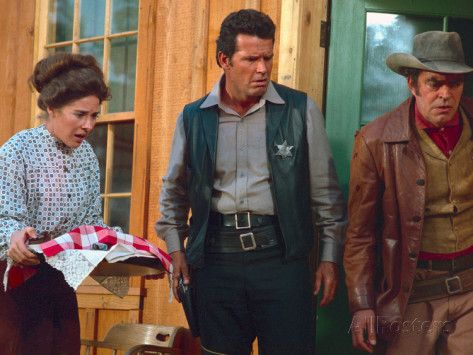 "Joan Hackett, James Garner, Jack Elam, in ""Support Your Local Sheriff""."