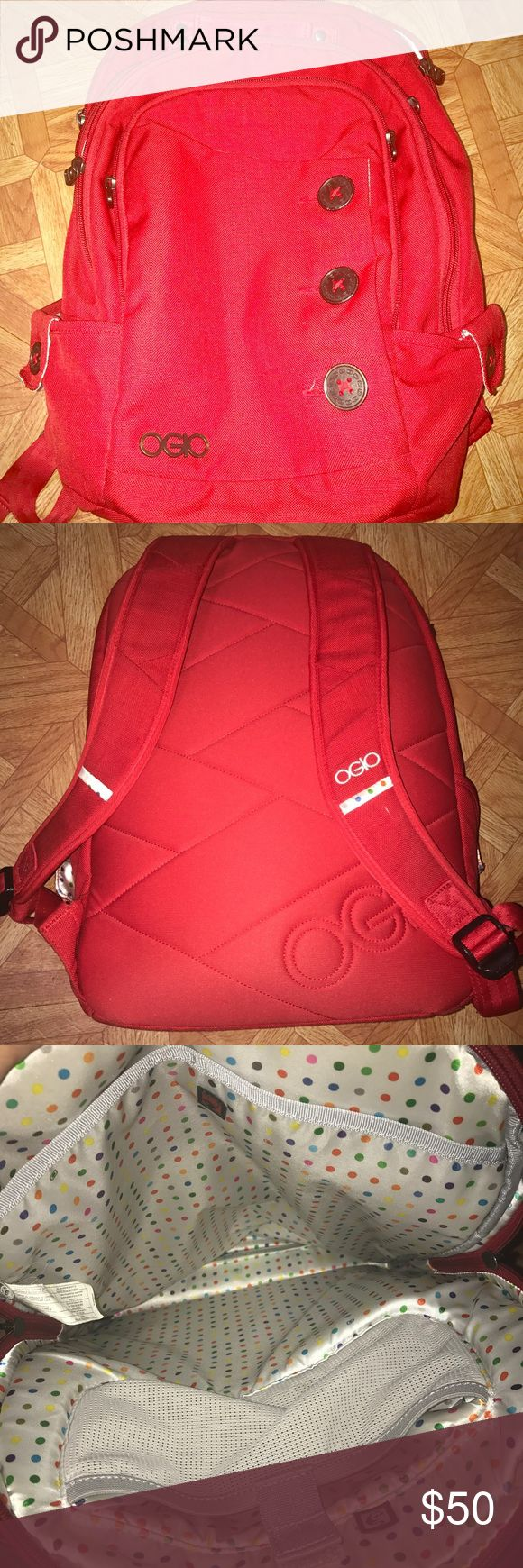 Red OGIO backpack! Has a lot of pockets and is great for school!!!! Accessories Bags