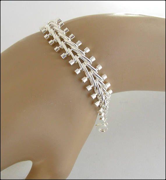 Silver chain woman bracelet cuff bracelet gourmette