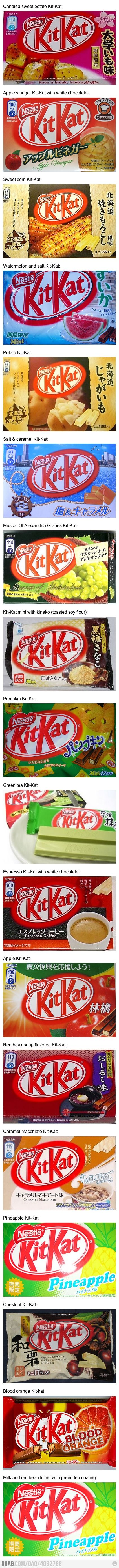 i've had cherry blossom, green tea, & wasabi kitkats when i've gone to japan... so many to try!