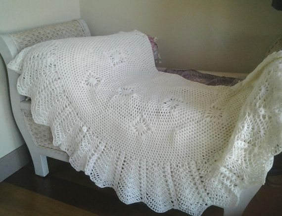 Cream  Circular Crocheted Baby Blanket or heirloom by frillydaisy