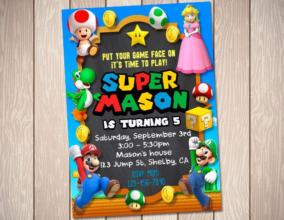 121 best bday theme Mario Bros images – Mario Party Invites