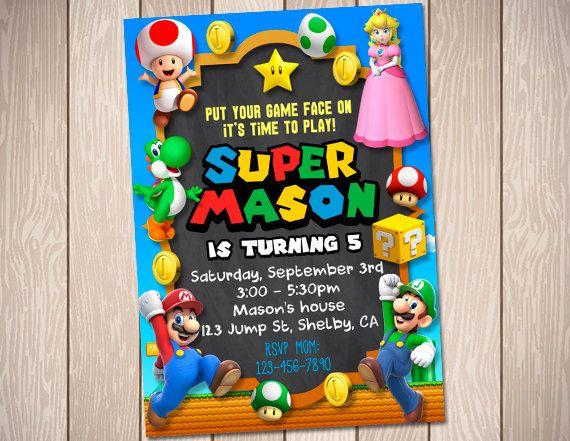 Super Mario Birthday invitación tarjeta invitación por PartyDoor