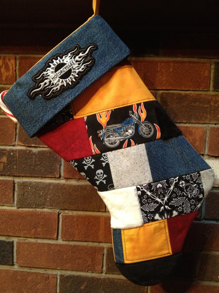 Quilted Harley Davidson Stocking-Made with fabric scraps from a past quilt and my boys recycled blue jeans.