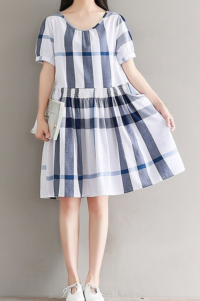 Women loose fit over plus size retro plaid checkers pocket dress skater tunic #Unbranded #dress #Casual