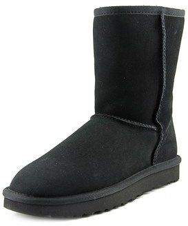 UGG Classic Short Ii Women Round Toe Suede Black Snow Boot.