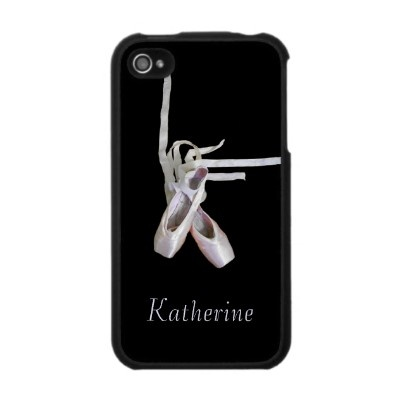 'BALLET' iPHONE 4 CASE, by The Flying Pig Gallery on Zazzle (lizadeyphoto) - Elegant toe shoes grace the cover of this iPhone case. Perfect for the dance student, professional dancer or ballet enthusiast. Can be personalized with your own name.  Also available for iPhone 3.